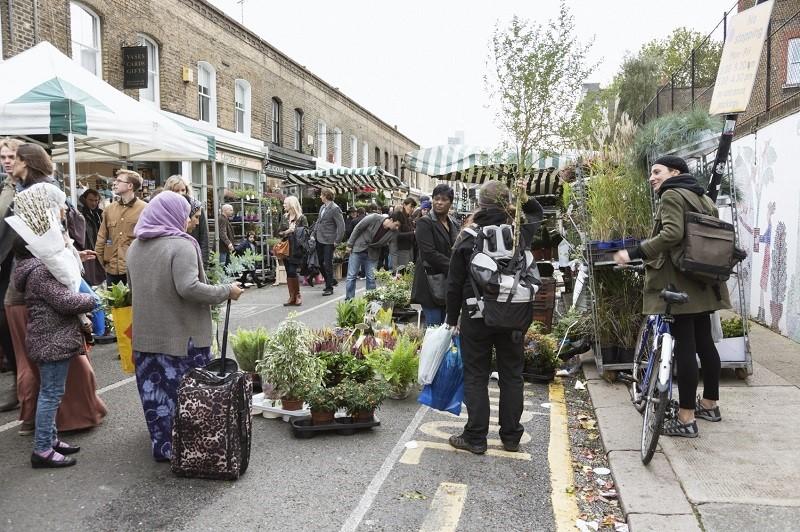 Sunday flower market Columbia Road, London, England