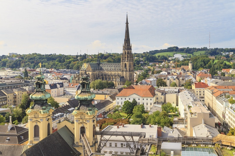 Linz Cityscape with New Cathedral and Church of the Ursulines, A