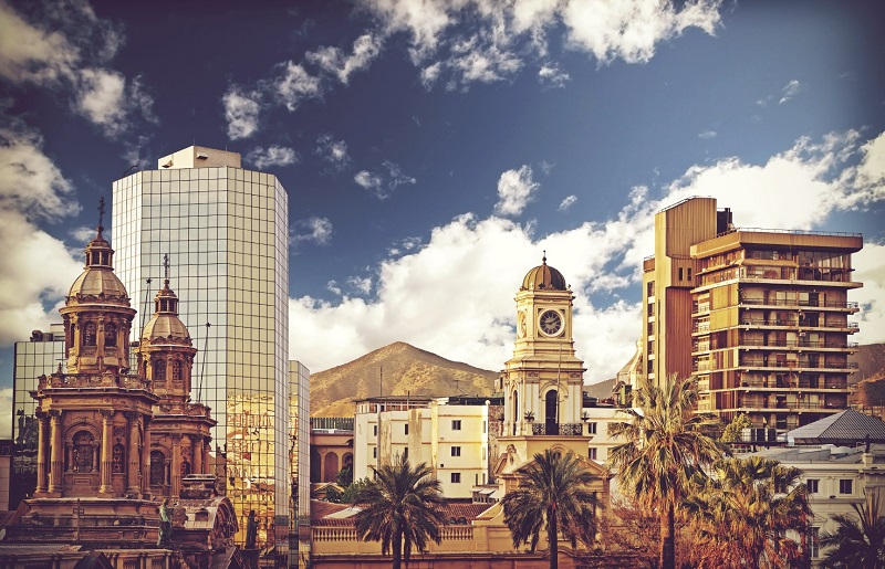 Vintage style picture of Santiago de Chile downtown, Chile.