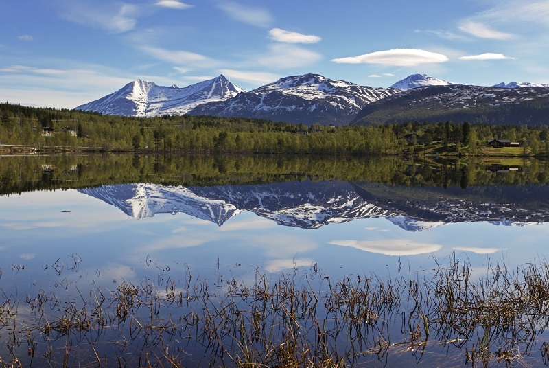 Lake in Norway with snowcapped mountain