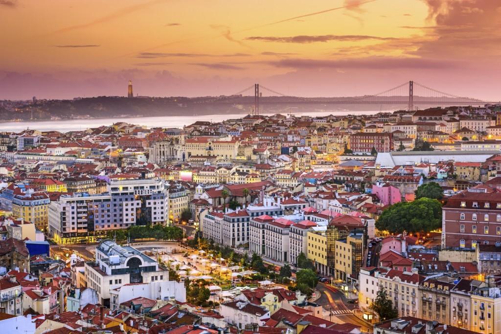 Lisbon, Portugal Skyline at Night