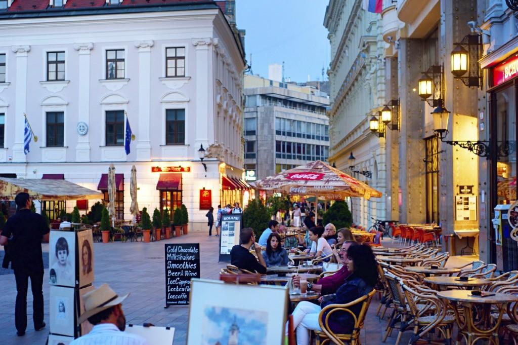Night life in Bratislava city center