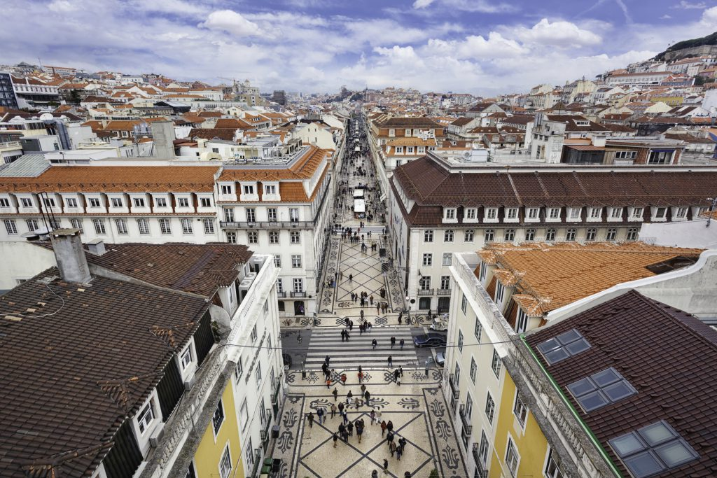 View over the central Baixa district and the pedestrian street Rua Augusta in Lisbon, Portugal.