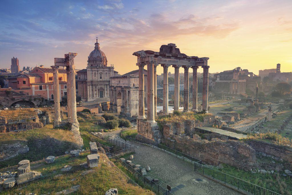 Image of Roman Forum in Rome, Italy during sunrise.