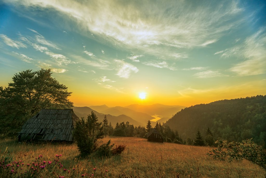 Beautiful summer sunset over Tara Mountain Range in western Serbia.