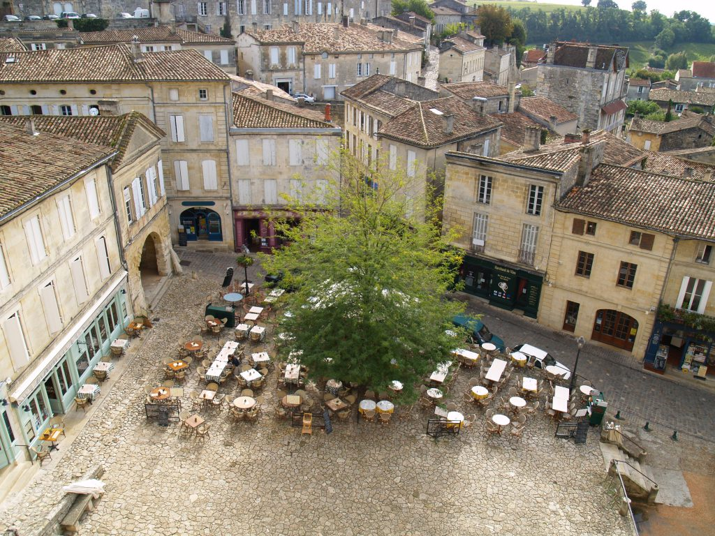 Square in St.Emilion Gironde, Aquitaine, France